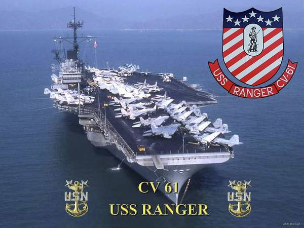 Usn Digital Art - Cv-61 Uss Ranger by Mil Merchant