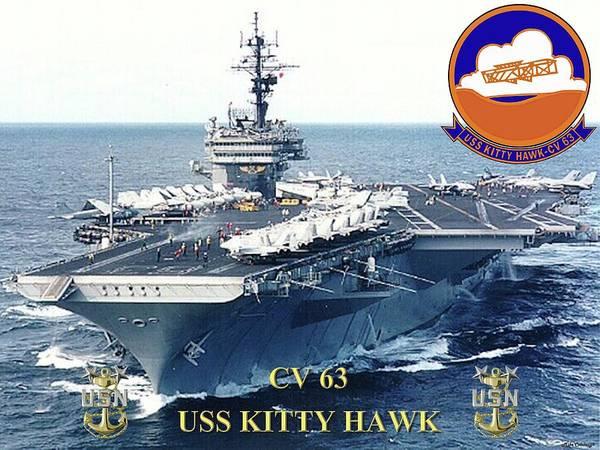 Usn Digital Art - Cv-63 Uss Kitty Hawk  by Mil Merchant