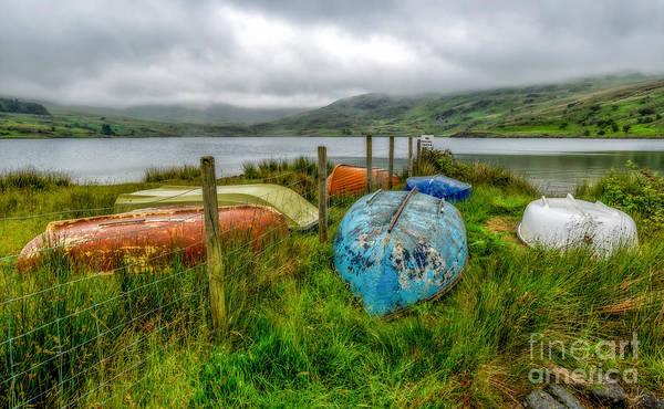 Moor Photograph - Cwmystradllyn Boats by Adrian Evans