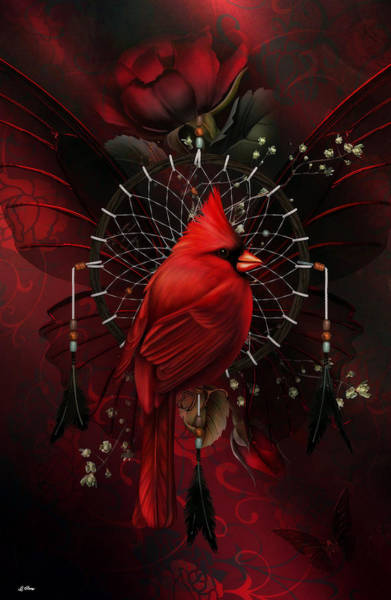 Cardinal Mixed Media - Northern Cardinal Dreamcatcher by G Berry