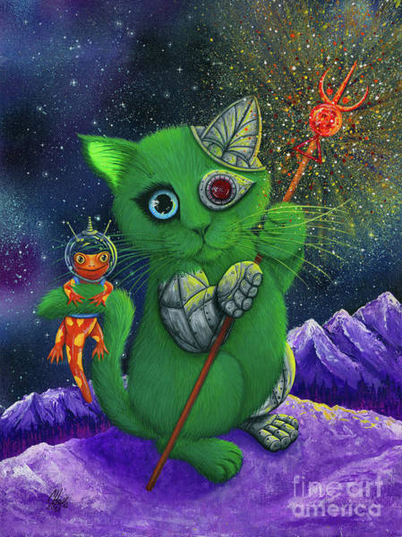 Painting - Cy And Sal Space Explorers - Cyborg Space Cat Salamander by Carrie Hawks