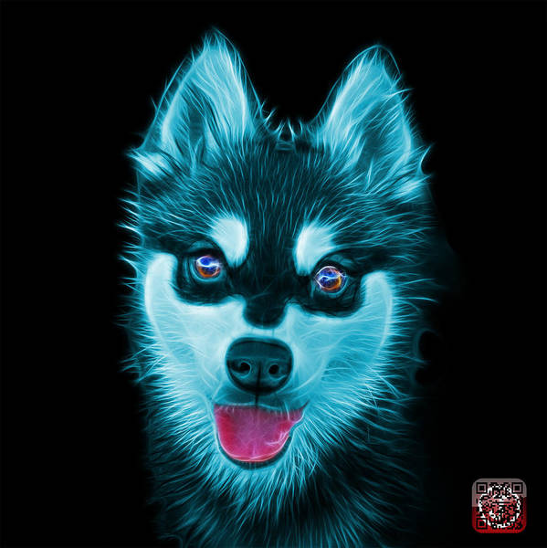 Painting - Cyan Alaskan Klee Kai - 6029 -bb by James Ahn