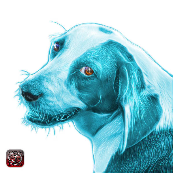 Painting - Cyan Beagle Dog Art- 6896 -wb by James Ahn