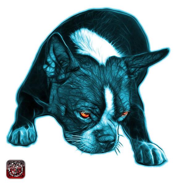 Mixed Media - Cyan Boston Terrier Art - 8384 - Wb by James Ahn