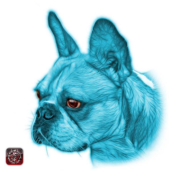 Cyan French Bulldog Pop Art - 0755 Wb Art Print