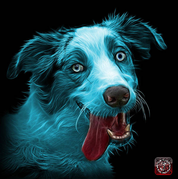 Painting - Cyan Merle Australian Shepherd - 2136 - Bb by James Ahn