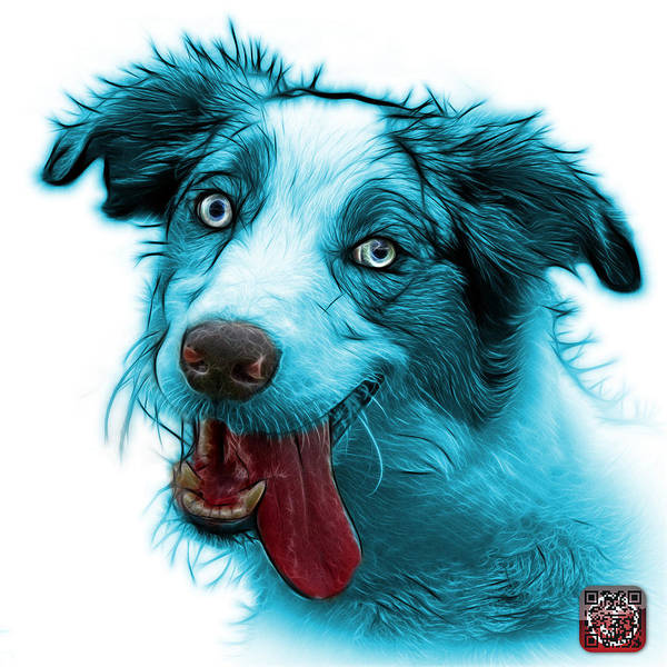 Painting - Cyan Merle Australian Shepherd - 2136 - Wb by James Ahn