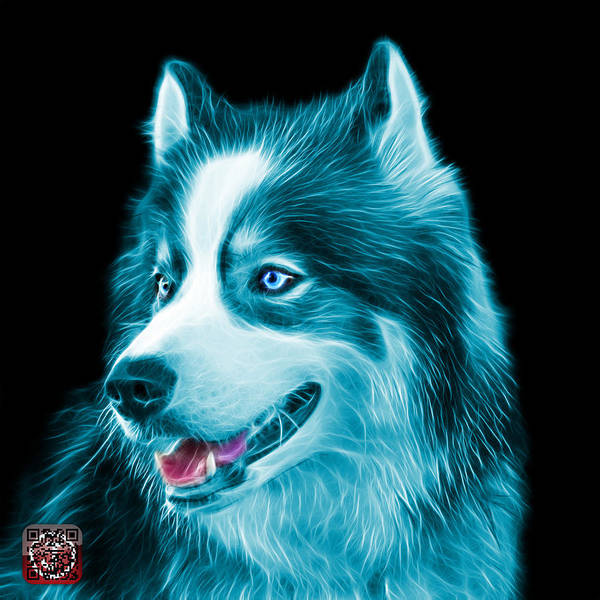 Painting - Cyan Modern Siberian Husky Dog Art - 6024 - Bb by James Ahn