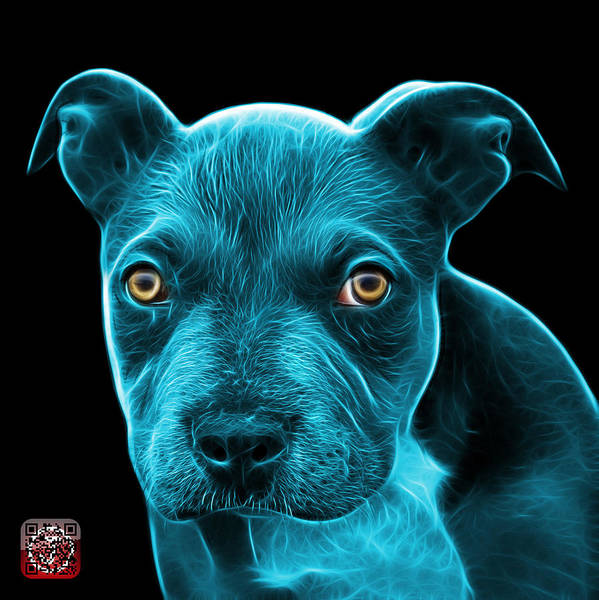 Painting - Cyan Pitbull Puppy Pop Art - 7085 Bb by James Ahn