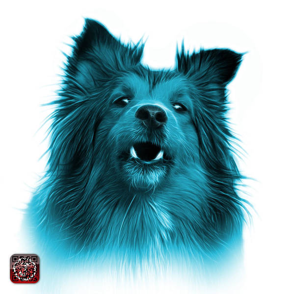 Painting - Cyan Sheltie Dog Art 0207 - Wb by James Ahn
