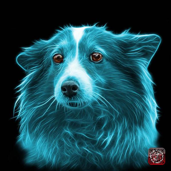 Mixed Media - Cyan Shetland Sheepdog Dog Art 9973 - Bb by James Ahn