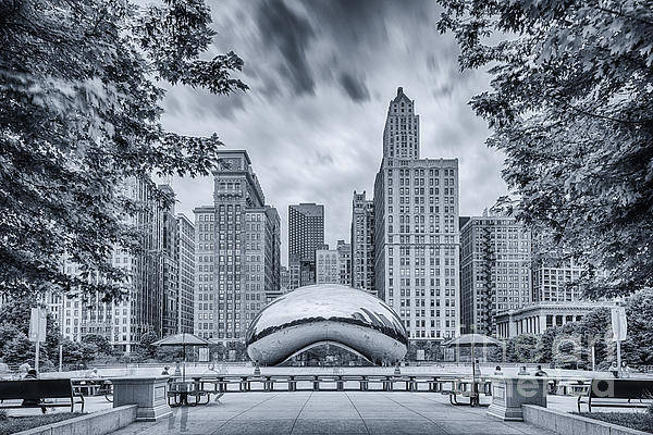Chicago Skyline Art Photograph - Cyanotype Anish Kapoor Cloud Gate The Bean At Millenium Park - Chicago Illinois by Silvio Ligutti