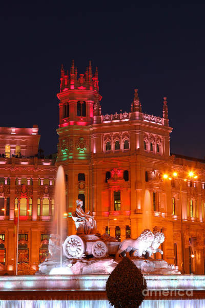 Photograph - Cybele Fountain And Palace At Night Madrid by James Brunker