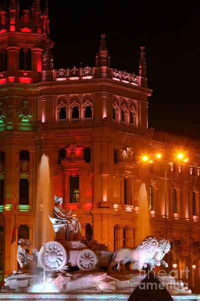 Photograph - Cybele Fountain At Night Madrid by James Brunker