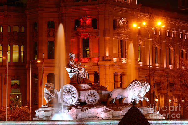 Photograph - Cybele Fountain Illuminations Madrid by James Brunker