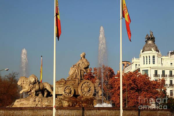 Photograph - Cybele Fountain Plaza De Cibeles Madrid by James Brunker