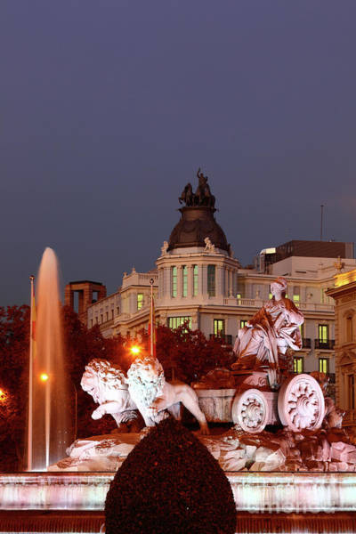 Photograph - Cybele Fountain Twilight Madrid by James Brunker