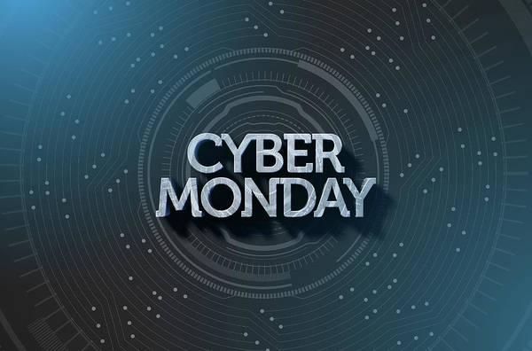 Wall Art - Digital Art - Cyber Monday Text On Black by Allan Swart