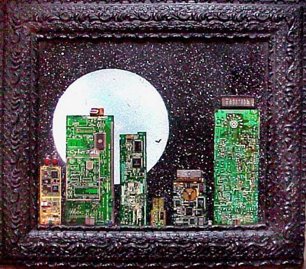 Ms Mixed Media - Cybercity 11 Moon Over Ms by Hank Roll