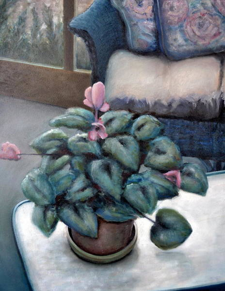 Painting - Cyclamen And Wicker by Michelle Calkins
