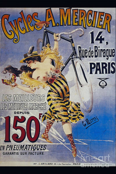 Flirtatious Painting - Cycles A Mercier 14 Ruede Birague Paris Naughty Vintage Poster With Half Naked Lady by R Muirhead Art