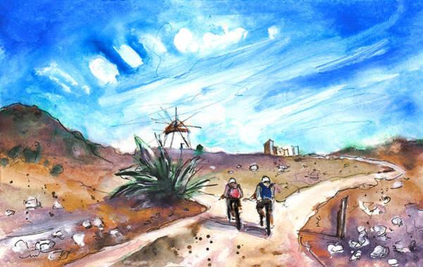 Wall Art - Painting - Cycling In Cabo De Gata by Miki De Goodaboom