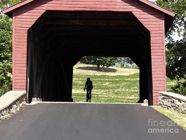 Digital Art - Cycling Through The Utica Mills Covered Bridge In Maryland With Watercolor Effect by William Kuta
