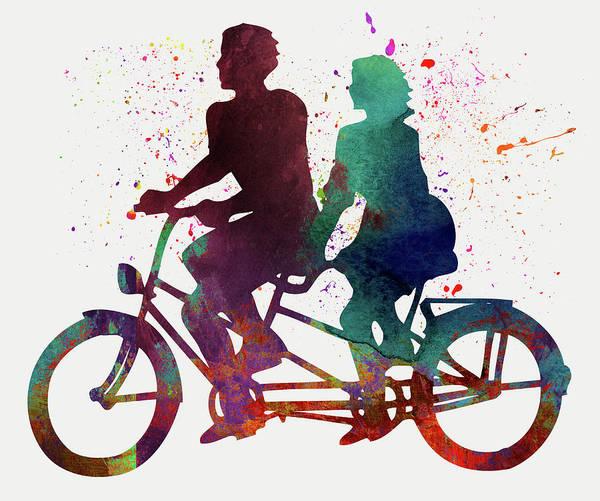 Sportsman Digital Art - Cyclistes by Elena Kosvincheva