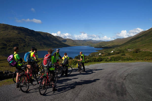 Moorland Photograph - Cyclists Above Lough Nafooey, Shot by Panoramic Images