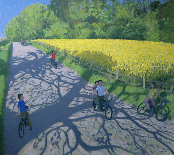 Macara Wall Art - Painting - Cyclists And Yellow Field by Andrew Macara