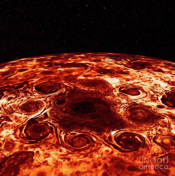 Wall Art - Photograph - Cyclones Encircle Jupiter's North Pole by American School