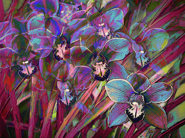 Multiple Exposure Digital Art - Cymbidium Carnival by Sheryl Karas