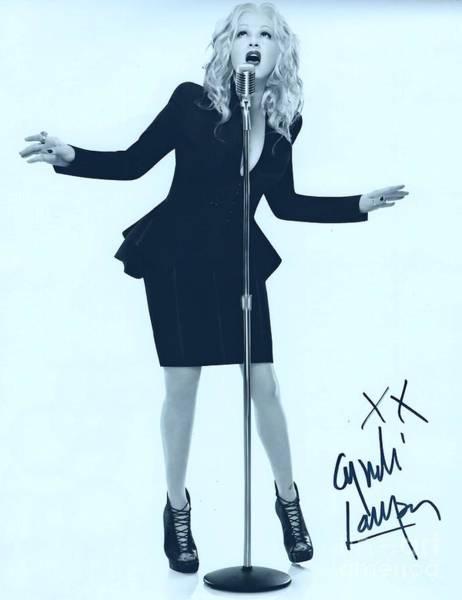 Wall Art - Photograph - Cyndi Lauper Autographed Portrait by Pd