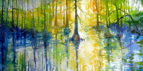 Bald Cypress Wall Art - Painting - Cypress Bayou Wetlands by Marcia Baldwin