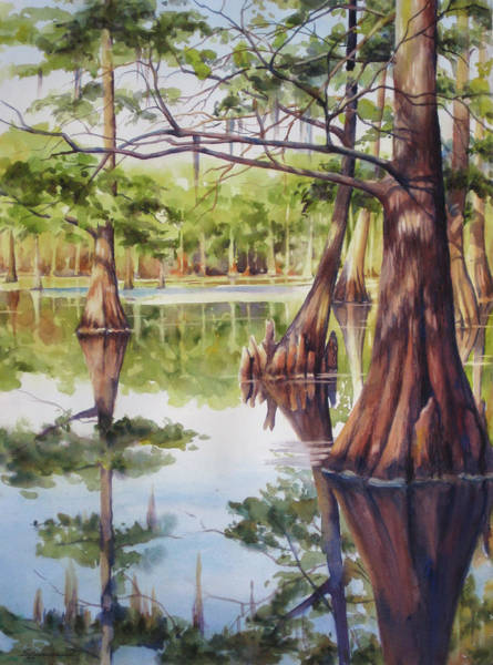Wall Art - Painting - Cypress In Lake Chicot by Sue Zimmermann