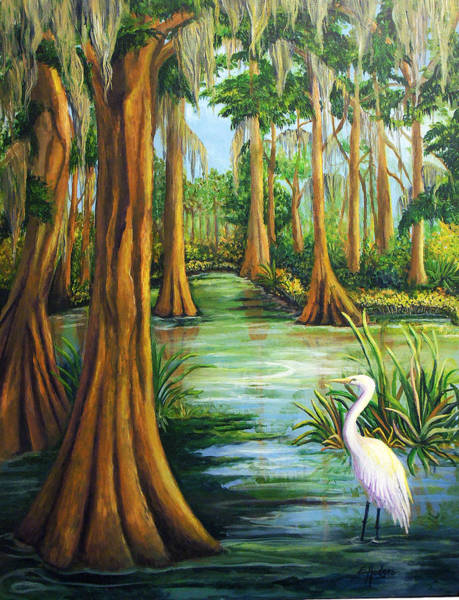 Wall Art - Painting - Cypress Swamp by Elaine Hodges