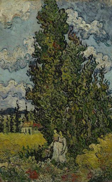 Painting - Cypresses And Two Women Saint Remy De Provence February 1890 Vincent Van Gogh 1853  1890 by Artistic Panda