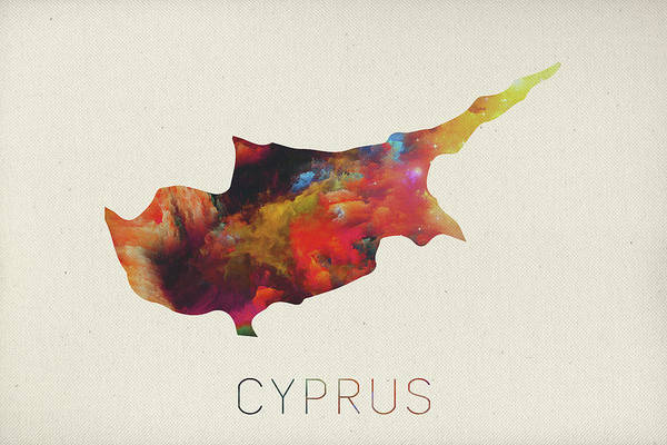 Cyprus Wall Art - Mixed Media - Cyprus Watercolor Map by Design Turnpike