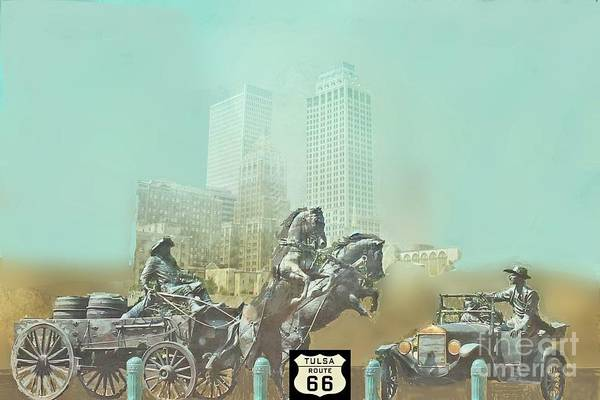 Tulsa Digital Art - Cyrus Avery Centennial Plaza Route 66 by Janette Boyd