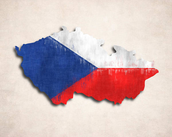 Eastern Europe Digital Art - Czechia Map Art With Flag Design by World Art Prints And Designs