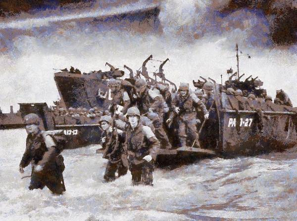 D Day Wall Art - Painting - D-day Landing by Esoterica Art Agency