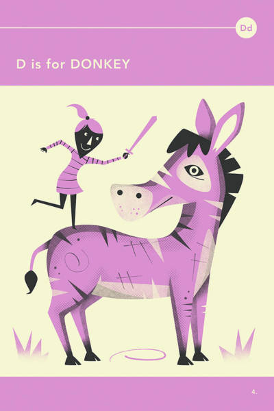 Illustrator Wall Art - Digital Art - D Is For Donkey by Jazzberry Blue