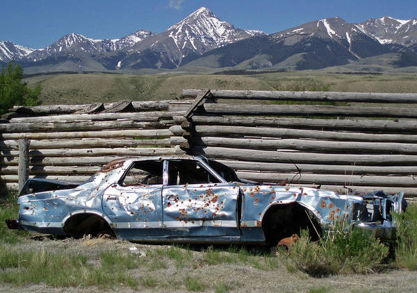 Photograph - D07510 Bullet Ridden Car Under Diamond Peak by Ed Cooper Photography