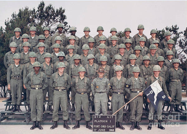 Photograph - D12 Ait Platoon 1 Fort Ord 17 June 1968 by California Views Archives Mr Pat Hathaway Archives