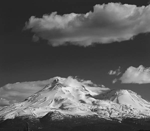 Photograph - D2m6106-bw Mt. Shasta And Shastina Crater by Ed Cooper Photography