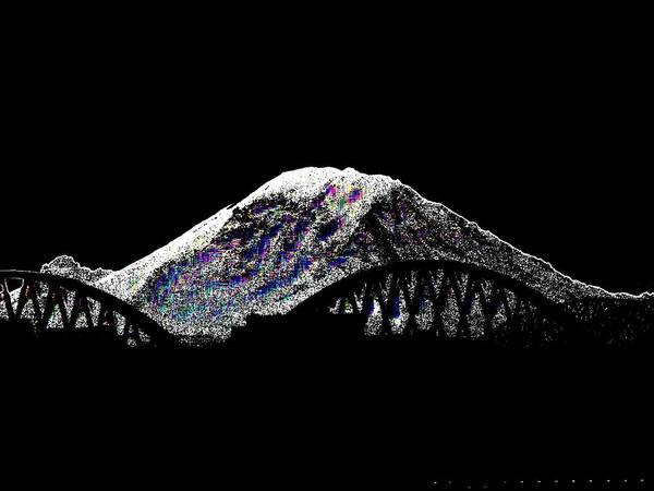 Mounted Digital Art - Da Mountain And Stadia by Tim Allen