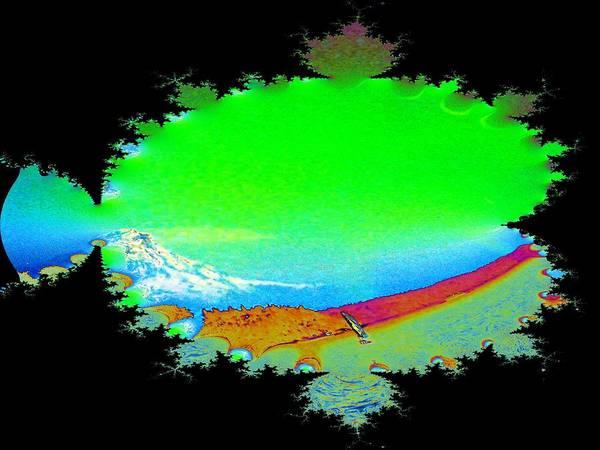 Mounted Digital Art - Da Mountain Sail In Fractal by Tim Allen