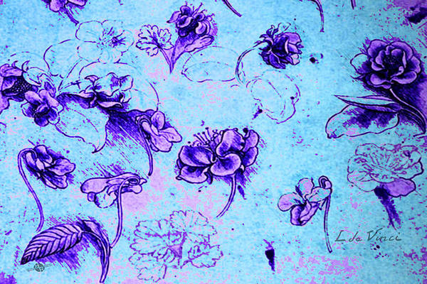 Painting - Da Vinci Flower Study Purple And Blue By Da Vinci by Tony Rubino