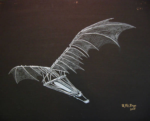 Painting - Da Vinci Flying Machine by Richard Le Page