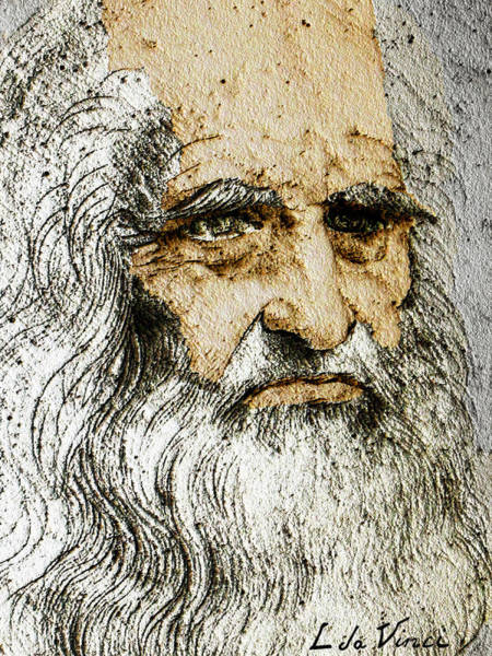 Painting - Da Vinci Self Portrait Remastered With Added Color By Da Vinci by Tony Rubino
